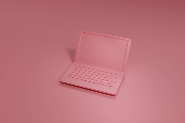 Rosa laptop 3d rendern, auf pastelltönen