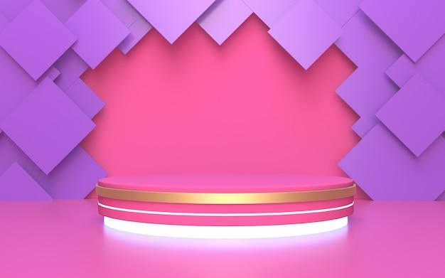 Rosa leeres podium für produktanzeige mit lila rechteckigem abstraktem hintergrund