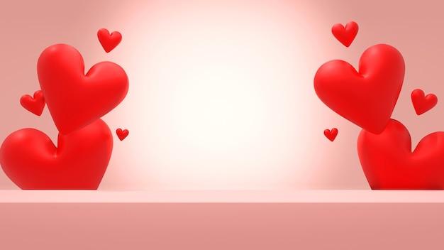 Rosa leeres quadratisches podium mit roter herzform in der rückseite im rosa hintergrund, 3d-rendering für valentinstag. 3d-illustration