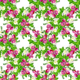 Rosa lila malve mit blättern. weiße malve. nahtloses muster. hand gezeichnete aquarellillustration. textur für druck, stoff, textil, tapete.