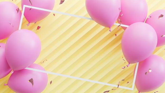 Rosa luftballons, die auf gelbem pastellhintergrund schwimmen. geburtstagsfeier und neujahrskonzept. , 3d-modell und illustration.