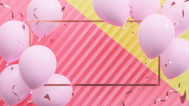 Rosa luftballons, die auf rosa und gelbem pastellhintergrund schwimmen. geburtstagsfeier und neujahrskonzept. , 3d-modell und illustration.