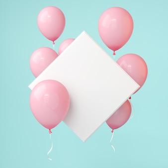 Rosa luftballons mit quadratischer leerer leinwand