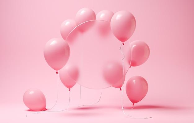 Rosa luftballons mit verschwommenem kreis