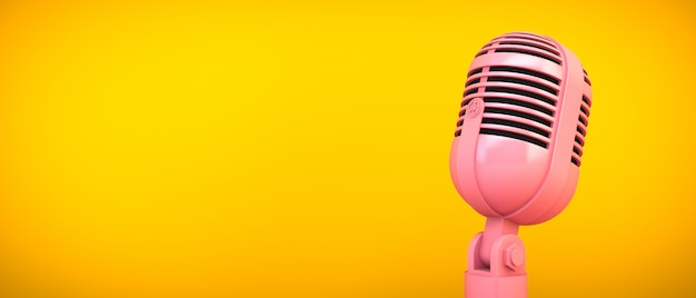 Rosa mikrofon auf gelbem raum, 3d-wiedergabe