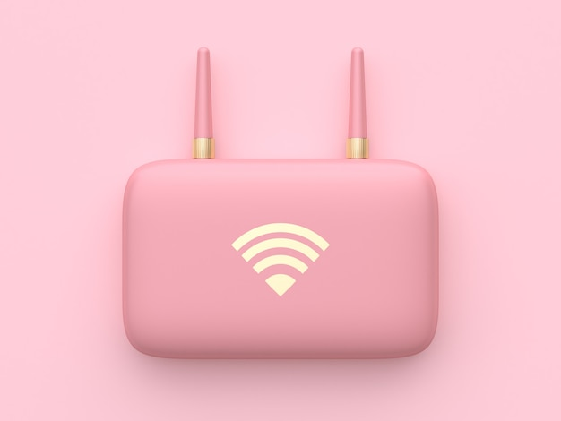 Rosa minimale abstrakte wiedergabe technologie-ausrüstung wifi routers 3d