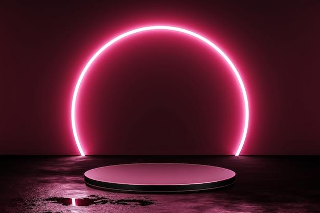Rosa neonlicht-produkthintergrundbühne oder podest auf grunge-straßenboden mit glühscheinwerfer und leerer anzeigeplattform. 3d-rendering.