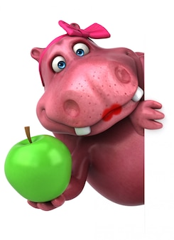 Rosa nilpferd mit apfel