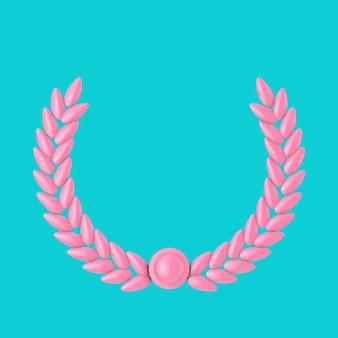 Rosa olivenzweig-lorbeerlaub im duotone-stil auf blauem grund. 3d-rendering