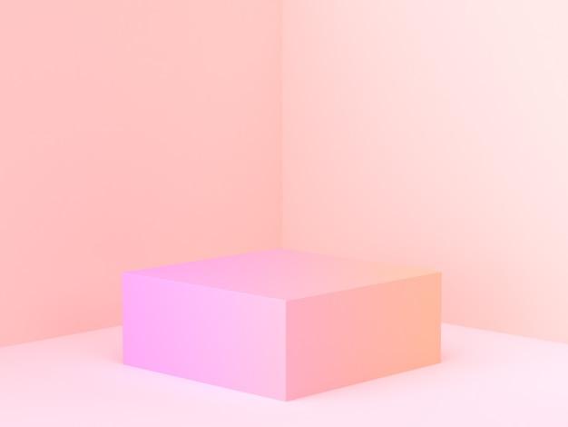 Rosa orange abstrakte wandeckenszene 3d, die minimales steigungspodium überträgt