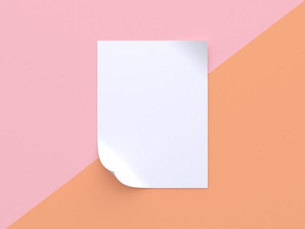 Rosa orange pastellhintergrund gekippter weißer eckkurvenzusammenfassung des leeren papiers minimaler papierspott der wiedergabe 3d oben