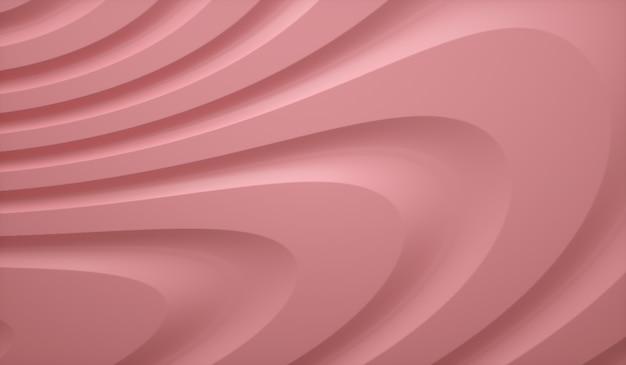 Rosa organische form d wellenförmiges flaches hintergrundtrenddesign d render