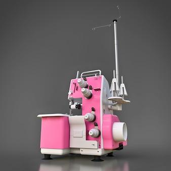 Rosa overlock auf grauem hintergrund. ausrüstung für die nähproduktion. kleidung und textilien nähen. 3d-illustration.