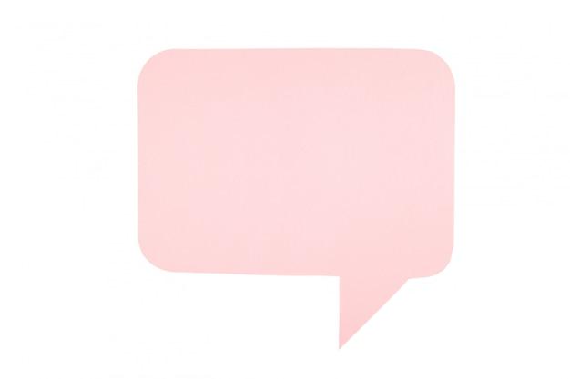 Rosa papier-sprechblasen lokalisiert auf weißem hintergrund