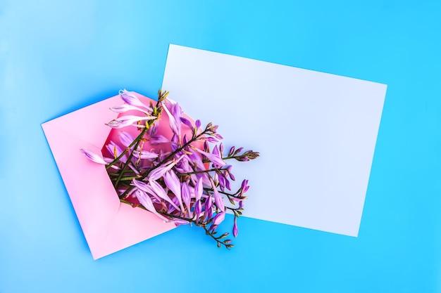 Rosa papierumschlag mit frischen hellen gartenblumen und leeren papierblättern auf hellblauem hintergrund. festliche blumenvorlage. grußkarten-design. ansicht von oben.