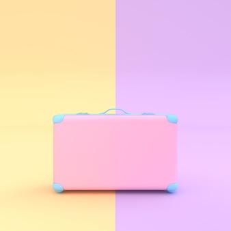 Rosa pastellfarbe des reisekoffers mit beschneidungspfad und modell für ihren text