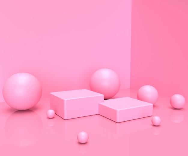 Rosa pastellproduktstand auf hintergrund. abstrakte minimale geometrie konzept.3d rendering