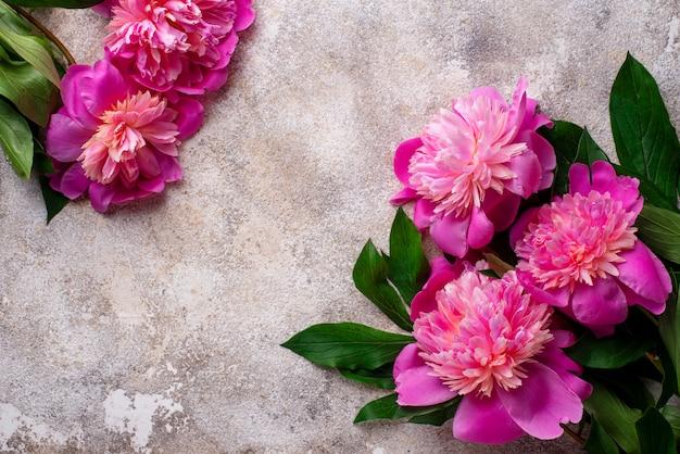 Rosa pfingstrosenblumen auf dem boden