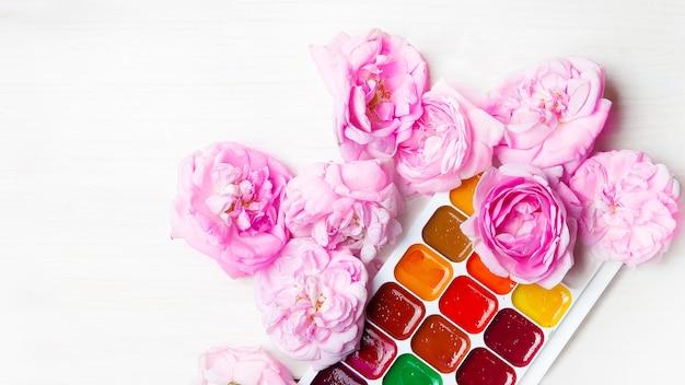 Rosa pfingstrosenknospen liegen neben einer palette von farben zum malen auf weißem hintergrund, daneben gibt es einen platz für text. weicher fokus. draufsicht. flach liegen. helle postkarte für kreative konzepte.