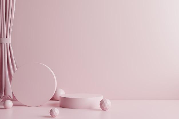 Rosa podien mit rosa vorhängen und kugeln