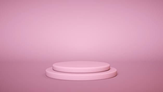 Rosa podium auf rosa hintergrund. produktpräsentationsständer. fügen sie ihr produkt ein. 3d-rendering.