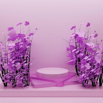 Rosa podium mit rosa blättern auf baum. sockel 3d im rosa oberflächenhintergrund für kosmetische werbung und produktschaukasten
