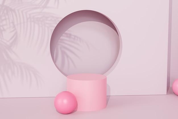 Rosa podium oder sockel für produkte oder werbung auf tropischem hintergrund mit palmblattschatten, 3d-rendering