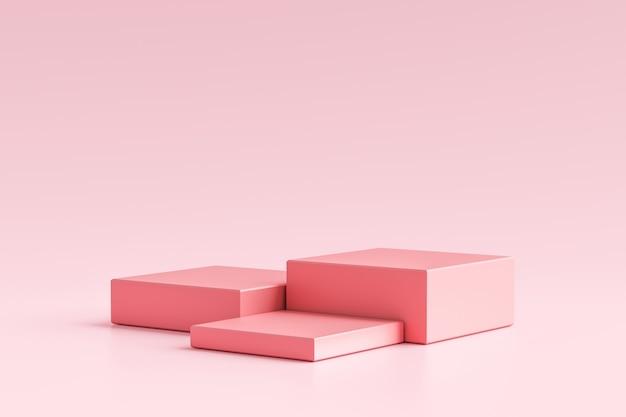 Rosa produktanzeige oder schaufenstersockel auf einfachem hintergrund mit würfelständerkonzept. rosa studio podium oder plattform produktvorlage. 3d-rendering.