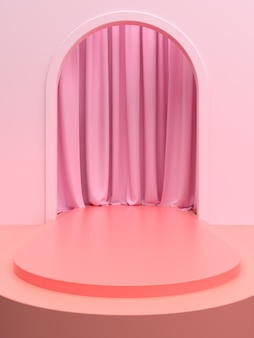 Rosa produktbühne oder podium mit vorhang für bannerwerbung oder schaufenster. 3d-illustration