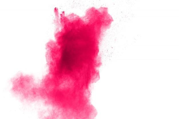 Rosa pulverexplosion auf weiß.
