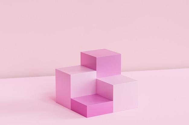 Rosa quadratische podeste auf pastellfarbener oberfläche