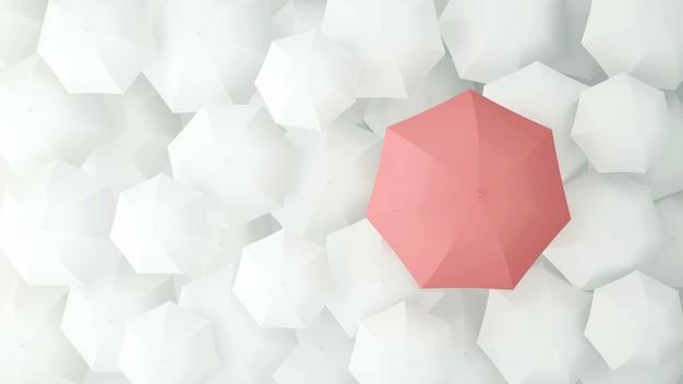 Rosa regenschirm auf vielen weißen regenschirmen. abbildung 3d.