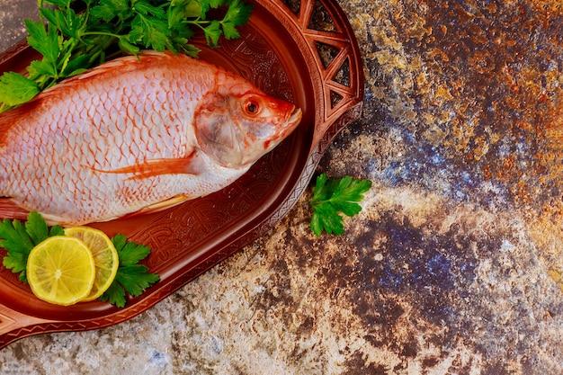 Rosa roher tilapia-fisch mit kräutern und zitrone. draufsicht.