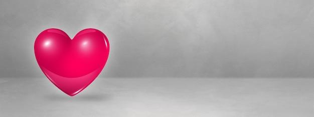 Rosa rosa herz lokalisiert auf einem konkreten studiobanner. 3d-illustration