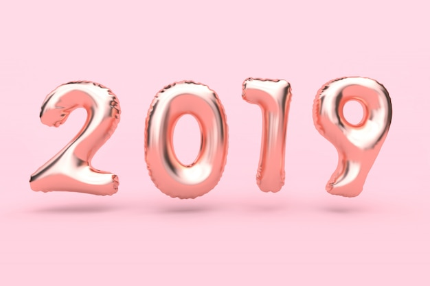 Rosa-rosafarbene goldzusammenfassungsballonart-zahl, die rosafarbene wiedergabe des neuen jahres 3d des hintergrundes des hintergrundes schwimmt