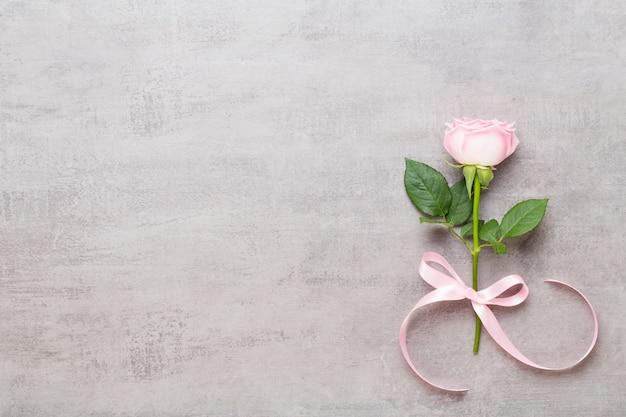 Rosa rose auf grauem hintergrund. flache lage, draufsicht