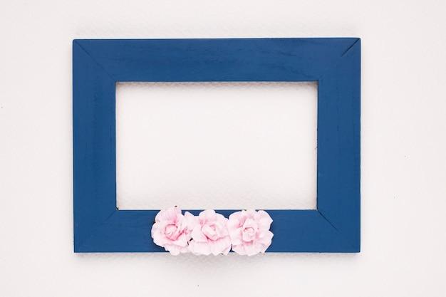 Rosa rosen auf blauem grenzrahmen über weißem hintergrund