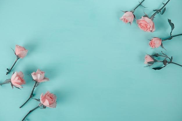 Rosa rosen auf einer blauen oberfläche