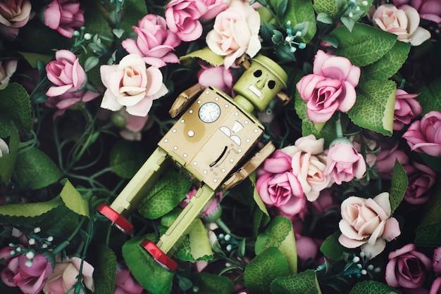 Rosa rosen-dekorations-roboter-konzept