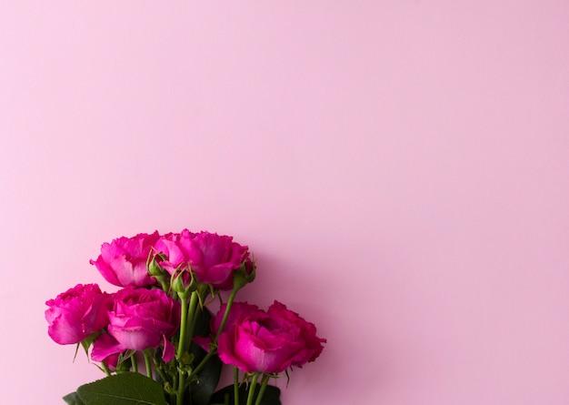 Rosa rosenblumenstrauß auf rosa mit kopienraum.