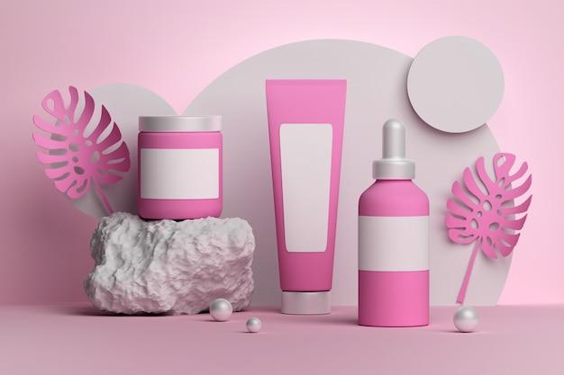 Rosa sammlung mit monstera-blättern, stein- und gläser-röhrenflaschen