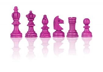 Rosa Schachfiguren lokalisiert auf Weiß