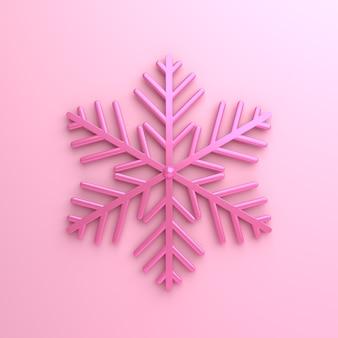Rosa schneeflockenikonenwinter oder glückliche neujahrsdekoration, 3d-darstellung