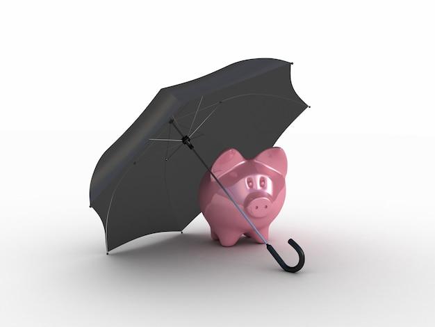 Rosa schweinchen unter regenschirm. 3d-illustration