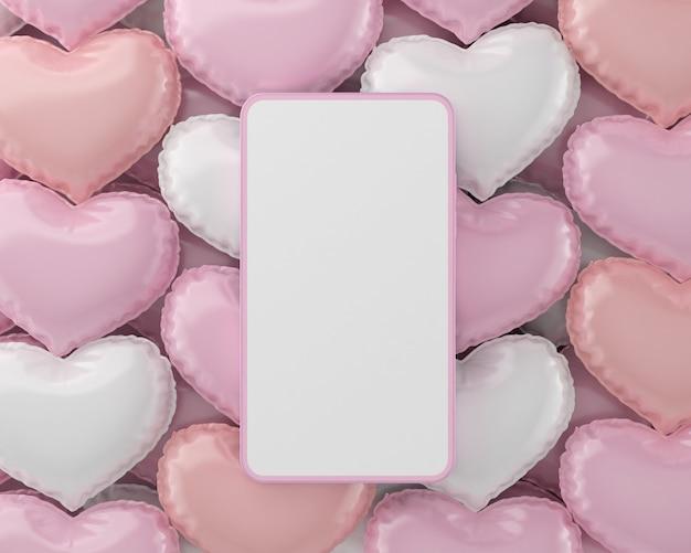 Rosa smartphone mit valentinstagdekoration. valentinstag herz und liebesherz, konzept des liebesdesigns.