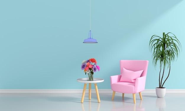 Rosa sofa im hellblauen wohnzimmer für modell