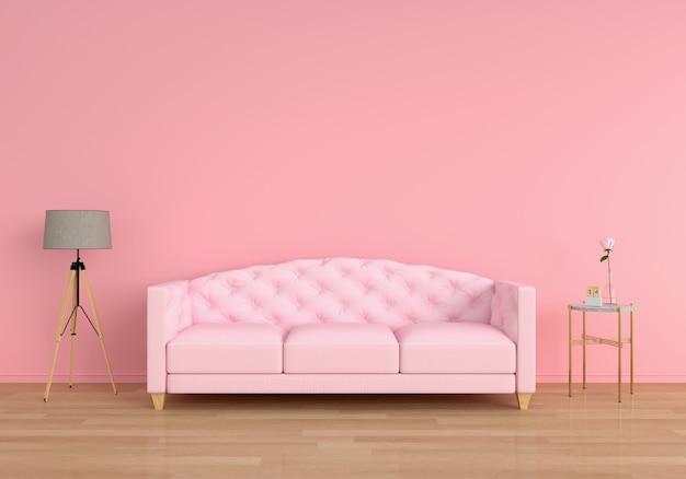 Rosa sofa im wohnzimmer, wiedergabe 3d