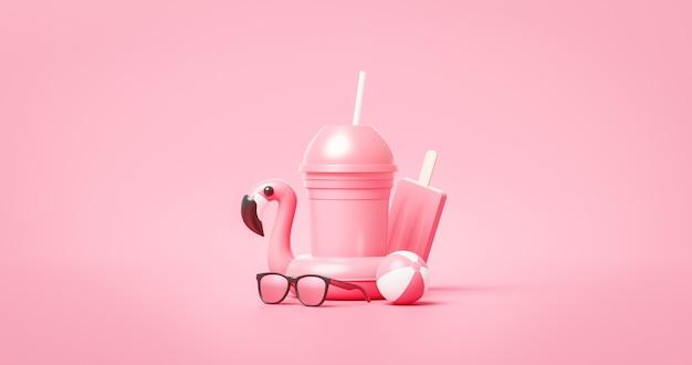 Rosa sommergetränkschale oder tropisches feiertagsgetränk auf frischem urlaubshintergrund mit süßer fruchterfrischung. 3d-rendering.