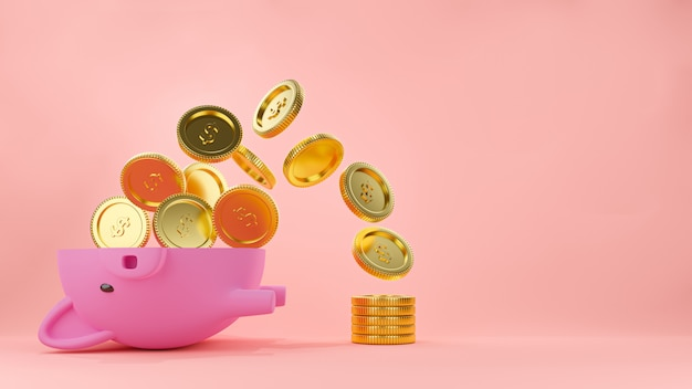 Rosa sparschwein halbiert mit fluss von goldmünzen und einem stapel geld