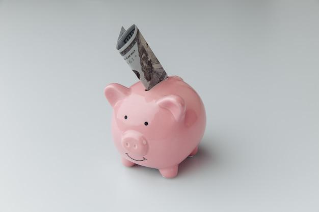 Rosa sparschwein mit dollarbanknote auf weißem hintergrund. konzept finanzieren und geld sparen